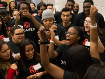 Braven students cheer one another on in a large group