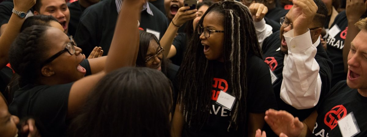 Braven students cheer one another on