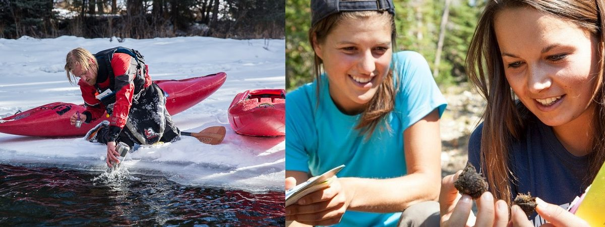 Left side photo of a kayaker in collecting water from a snowy shore. Right side photo two women collecting scat in the woods.