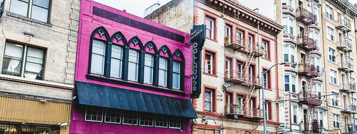 Pink building front in San Francisco