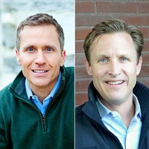 Headshot photos of Eric Greitens and Spencer Kympton