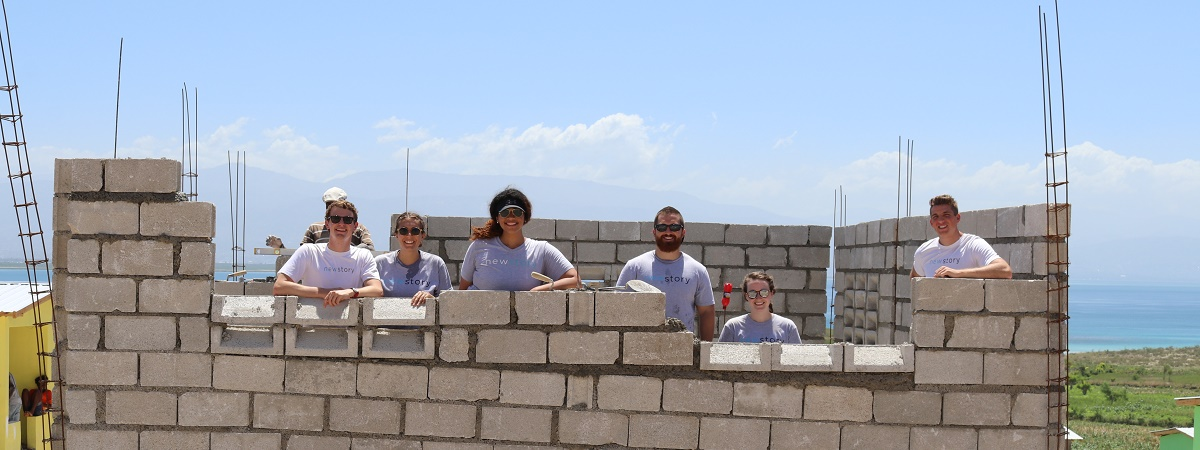 New Story team building a a home in Haiti