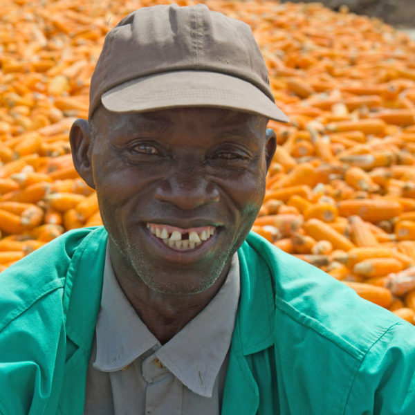 Farmer smiling with his crop in the background