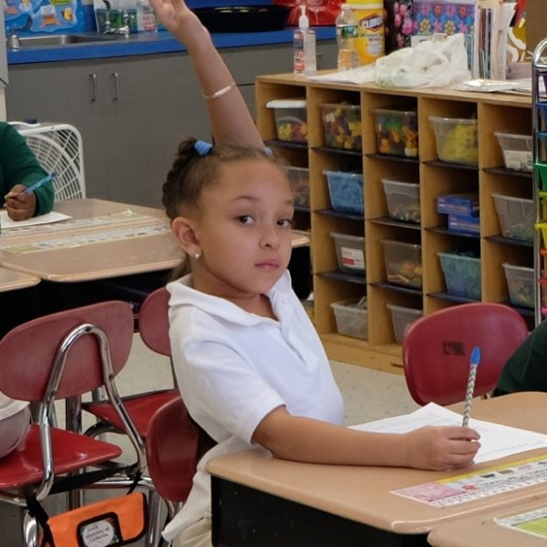 Little girl raises her hand in class