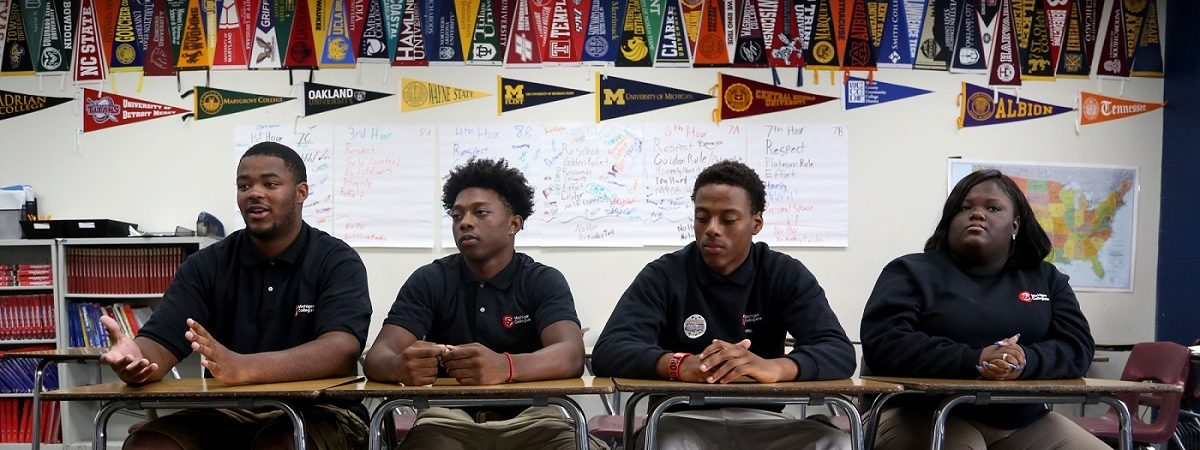 (L to R) Jordan Davis, 17, Tanell McCalebb, 17, Ervin Butler, 17 and Rhianna Woolfolk (not cq'd), 16 and all seniors at Michigan Collegiate High School in Warren, Michigan on Thursday, September 15, 2016 talked to the Detroit Free Press about how they've seen and handled violence growing up in Detroit.