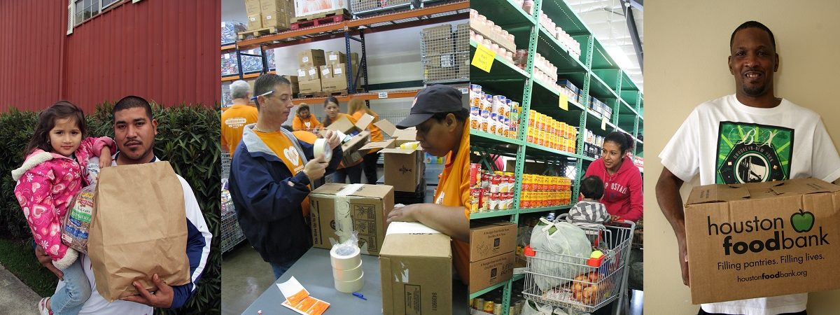 Various food bank photos are strewn together. A father holds his daughter and a grocery bag filled with food. A mother pushes a shopping cart with her child and browses the shelves of food at the food bank. Local volunteers pack boxes full of food.
