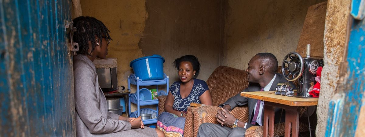 Jane Zamukunda (28) meets with Maureen Nuwamanya and