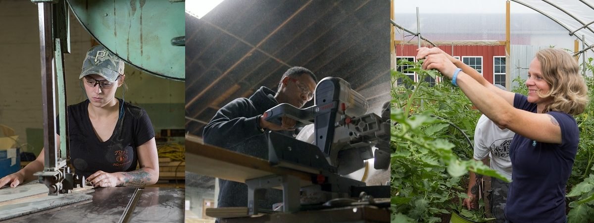 Three photos portraying a woman in a machine workshop, a man using a table saw, and a woman in a greenhouse are stitched together