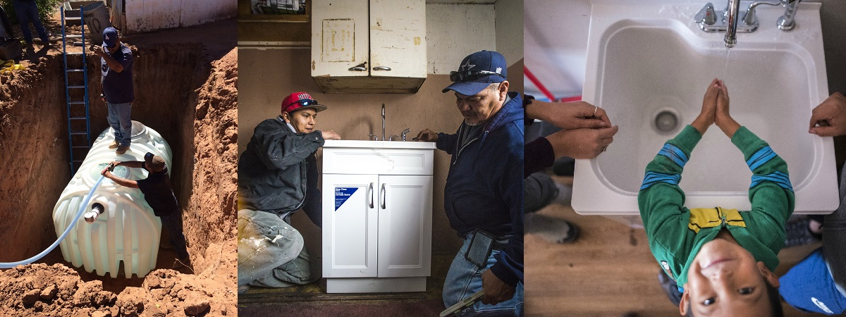 3 images: 1) two men work to bury a water tank underground; 2) 2 Native American men install a sink into a home; 3) a boy washes his hands in a sink with clean running water
