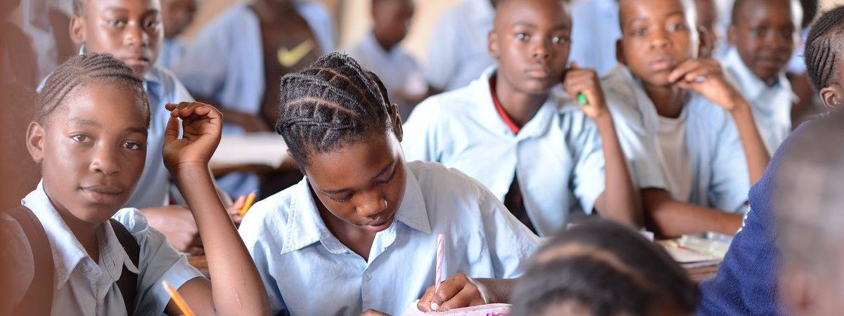 African grade school students in the classroom