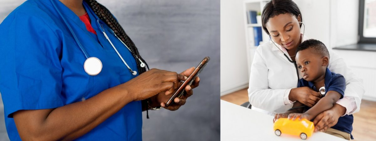 The female doctor's hands holding the stethoscope on his shoulders and using a mobile phone. Medical help or insurance concept. Doctor receiving concept